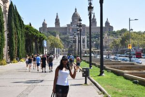 Attractions in Montjuic in Barcelona